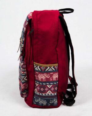 کوله پشتی کتان طرح سنتی - زرشکی - بغل
