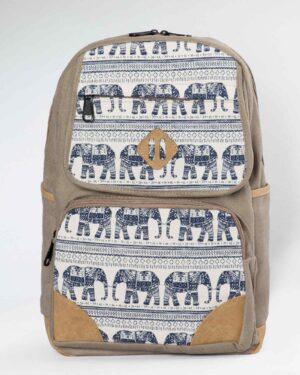 کوله پشتی کتان طرح فیل - خاکی - رو به رو