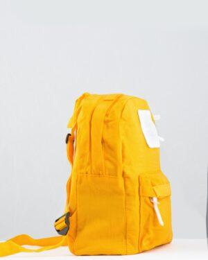 کوله پشتی کوچک کتان ساده - زرد - بغل