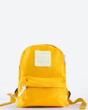 کوله پشتی کوچک کتان ساده - زرد - رو به رو