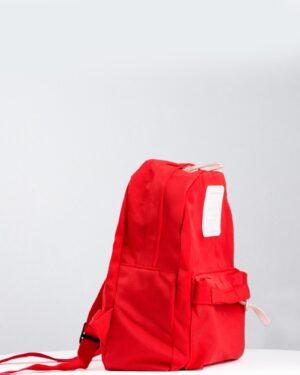 کوله پشتی کوچک کتان ساده - قرمز - بغل