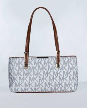 کیف دوشی دخترانه طرح دار - سفید - رو به رو