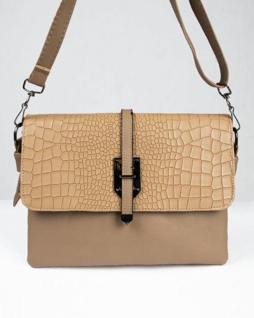 کیف دوشی چرم مصنوعی زنانه - خاکی - رو به رو