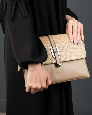 کیف دوشی چرم مصنوعی زنانه - خاکی - کیف دخترانه
