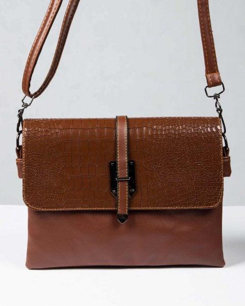کیف دوشی چرم مصنوعی زنانه - قهوه ای - رو به رو