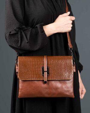 کیف دوشی چرم مصنوعی زنانه - قهوه ای - کیف دخترانه