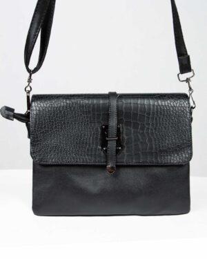 کیف دوشی چرم مصنوعی زنانه - مشکی - رو به رو