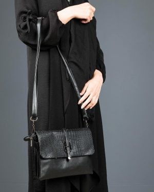 کیف دوشی چرم مصنوعی زنانه - مشکی - کیف دخترانه