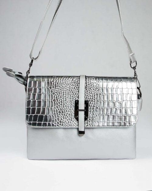 کیف دوشی چرم مصنوعی زنانه - نقره ای - رو به رو