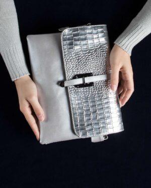 کیف دوشی چرم مصنوعی زنانه - نقره ای - محیطی