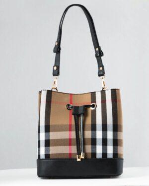 کیف زنانه طرح چهارخانه - خاکی - رو به رو