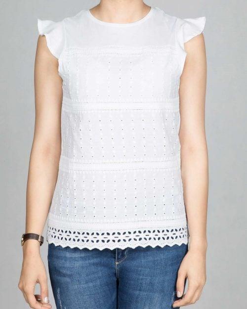 تیشرت زنانه نخی طرح دار - سفید - رو به رو
