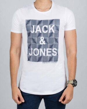 تی شرت اسپرت نخی مردانه - سفید - رو به رو
