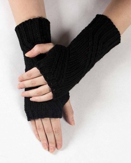 دستکش بافت مشکی بدون انگشت - مشکی - رو به رو