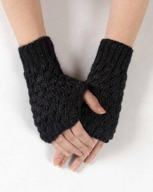 دست پوش بافت کوتاه خاکستری - خاکستری تیره - رو به رو
