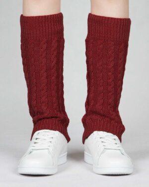 ساق پا بافت طرح مارپیچ - زرشکی - رو به رو