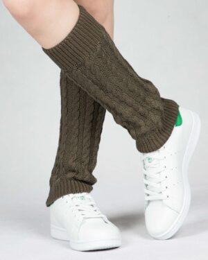 ساق پا بافت طرح مارپیچ - زیتونی - رو به رو