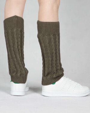 ساق پا بافت طرح مارپیچ - زیتونی - پشت