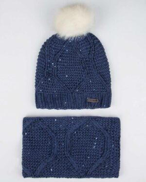 ست کلاه شال گردن رینگی پولک دار زنانه - آبی تیره - رو به رو