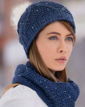 ست کلاه شال گردن رینگی پولک دار زنانه - دخترانه