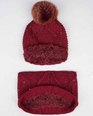 ست کلاه شال گردن رینگی پولک دار زنانه - زرشکی - تو کرک