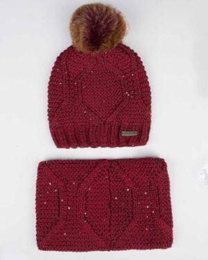 ست کلاه شال گردن رینگی پولک دار زنانه - زرشکی - رو به رو