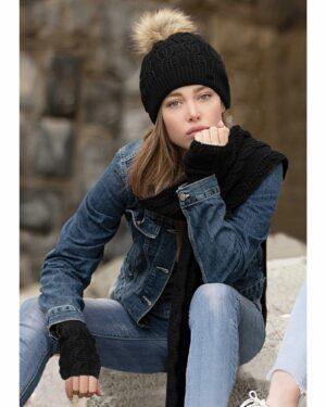 ست کلاه و شال گردن بافت و دستکش بدون انگشت - مدل مشکی - محیطی