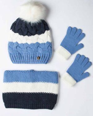 ست کلاه و شال گردن و دستکش بافت بچه گانه - آبی روشن - رو به رو