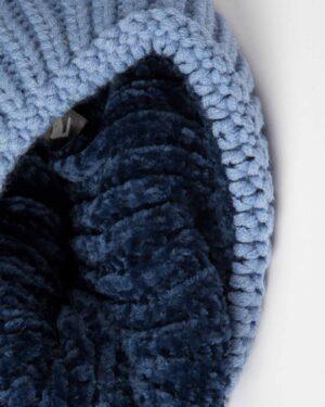 ست کلاه و شال گردن و دستکش بافت بچه گانه - آبی روشن - کلاه تو کرک