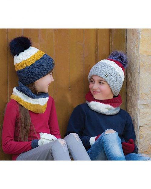 ست کلاه و شال گردن و دستکش بافت بچه گانه - خردلی - دخترانه