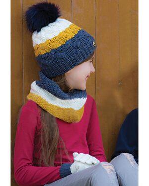 ست کلاه و شال گردن و دستکش بافت بچه گانه - خردلی - مدل دخترانه