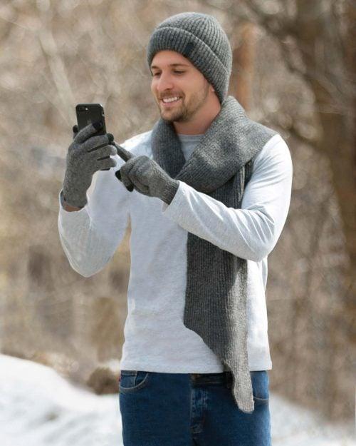 ست کلاه و شال گردن و دستکش بافت ساده - طوسی - محیطی مردانه