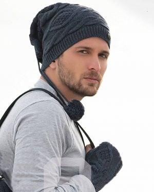 ست کلاه گردنی و دست پوش بافت - آبی تیره - محیطی مردانه
