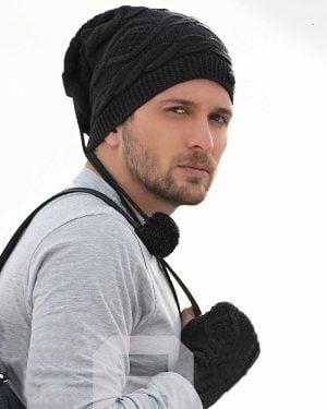 ست کلاه گردنی و دست پوش بافت - مشکی - محیطی مردانه