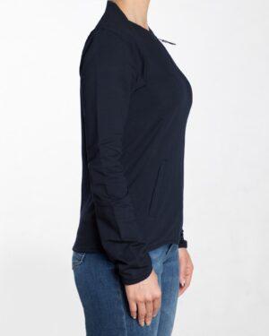 سویشرت کوتاه ساده دخترانه زیپ دار - سرمه ای - بغل سویشرت