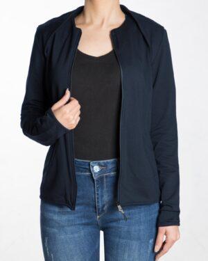 سویشرت کوتاه ساده دخترانه زیپ دار - سرمه ای - رو به رو سویشرت