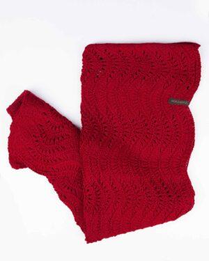 شال گردن بافت رینگی - قرمز - رو به رو