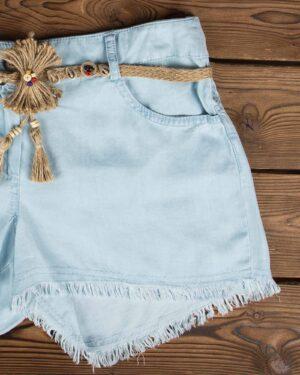 شلوارک جین کاغذی آبی روشن زنانه - آبی آسمانی - جیب جلو