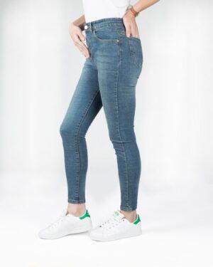 شلوار جین جذب آبی دخترانه - آبی تیره - بغل