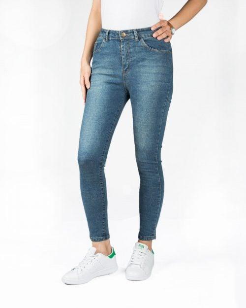 شلوار جین جذب آبی دخترانه - آبی تیره - رو به رو