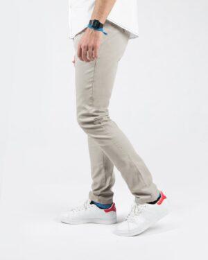 شلوار کتان ساده مردانه راسته - خاکستری محو - بغل