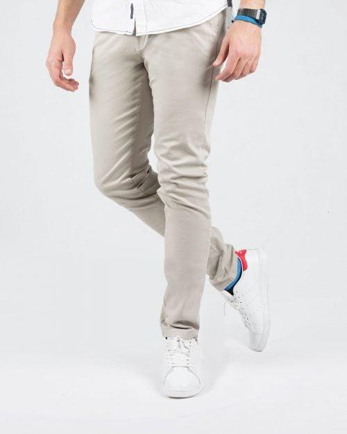 شلوار کتان ساده مردانه راسته - خاکستری محو - رو به رو