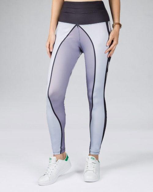 لگ ورزشی زنانه طرح برگ - طوسی کمرنگ - رو به رو