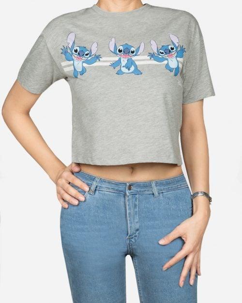 نیم تنه آستین کوتاه طرح دار زنانه- ملانژ -استایل رو به رو