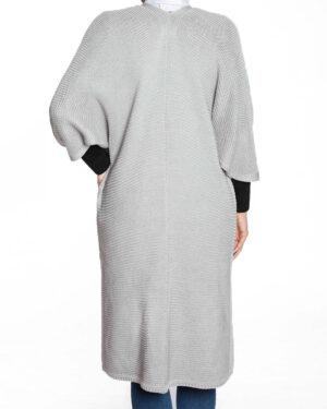 پانچو بافت ساده زنانه-طوسی کمرنگ-نمای پشت