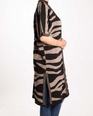 پانچو بافت طرح دار زنانه - خاکستری - بغل