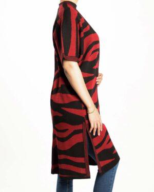 پانچو بافت طرح دار زنانه - قرمز - بغل