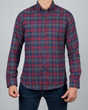 پیراهن پشمی چهارخانه آبی قرمز مردانه - آبی نفتی - رو به رو