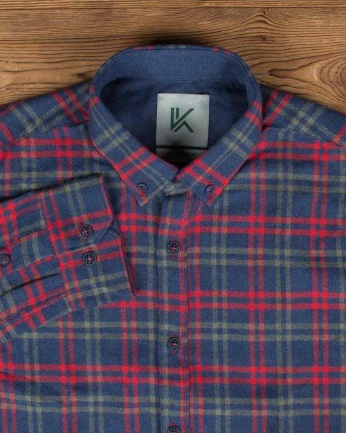 پیراهن پشمی چهارخانه آبی قرمز مردانه - آبی نفتی - یقه