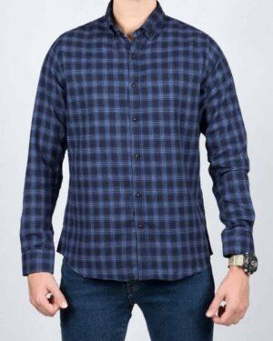 پیراهن پشمی چهارخانه اسپرت مردانه - آبی کاربنی - رو به رو